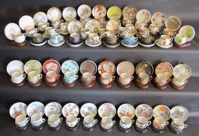 Antique Collection of Japanese Eggshell Lithophane Tea Cup & Saucers 138 Pieces