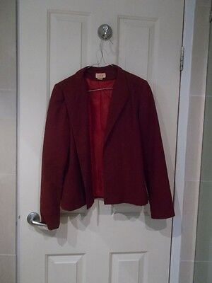 PURE WOOL burgundy jacket - MADE IN AUSTRALIA Size 10 - Fully lined SOLITAIRE