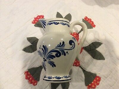 Vintage Portugal Hand Painted Pottery Pitcher - Cream and Blue