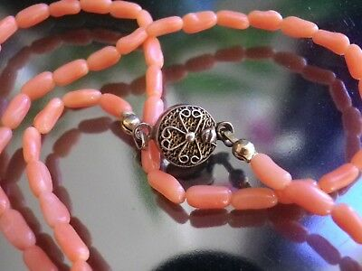 Antike Korallen Kette - China Export Silber. Undyed Chinese Coral Necklace, 42cm