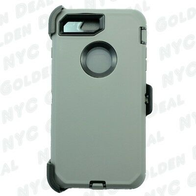 For iPhone 8 Plus Heavy Duty Defender Case w/(Belt Clip Fits Otterbox) Gry Bk