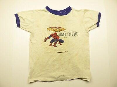 "1975 SPIDERMAN Children's Shirt 70s Spiderman ""Matthew"" Graphic Kid's Shirt"