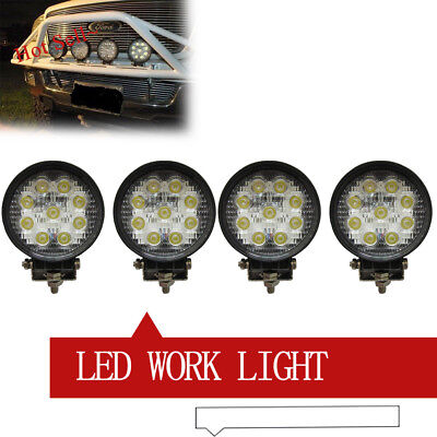 4Pcs 4''Inch 27W Round LED Work Light 4WD Headligth UTE Jeep 4X4 Trailer 12V 24V