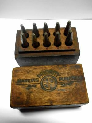 altes Punzierset-Zahlen 0 - 9 -PRIORITY MARKING PUNCHES- Set with numbers 0 - 9