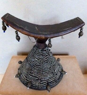 Vintage Ethiopian African Head Rest Wooden Embellished Pillow 20th Century 1950