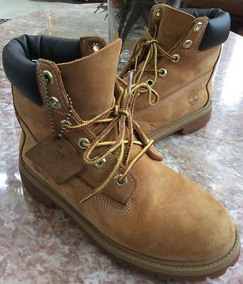 "Timberland 6"" Premium Waterproof Boys Grade school Nubuck Wheat Boots 12909"
