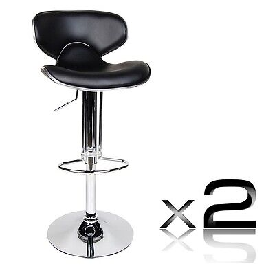 Pair Of PU Leather Bar Stool Kitchen Chair Gas Lift Black 1060 Jose NEW