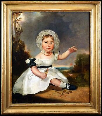 Superb c.1840 Large English Portrait of a Girl in a  Landscape, Oil Painting