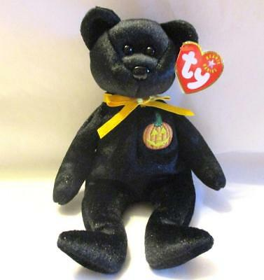 Retired Ty Beanie Baby Haunt The Sparkly Black Halloween Bear 2000 MNWT