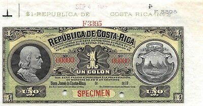 Costa Rica  1  Colon  9.4.1912  P 143s  Archival Specimen  Uncirculated Banknote