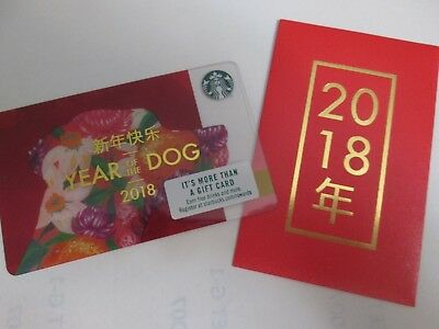 New Starbucks Chinese New Year Gift Card+Envelope Year Of The Dog 2018
