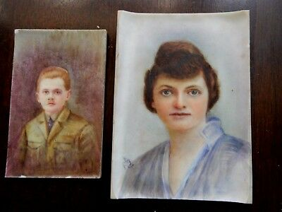 Vintage Antique PAIR of Miniature PORTRAIT PAINTINGS on Porcelain c1910-20s ART
