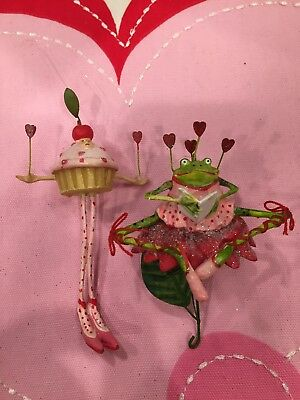 Patience Brewster Krinkles Valentine Cupcake And Frog mini Ornaments