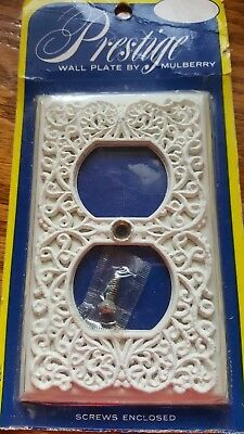 Vintage Antique white light Switch plate cover shabby filigree lace  Prestige