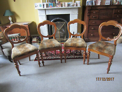 Victorian balloon back chairs (set of 4), mahogany, drop in upholstered seats