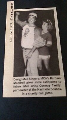 CONWAY TWITTY-BARBARA MANDRELL...Charily Ball Game Original Print Promo Pic/Text