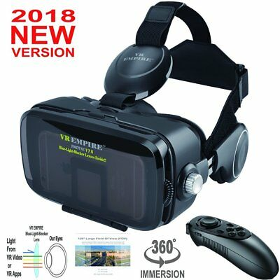 VR EMPIRE 3D VR Headset With Wireless Remote Controller; Anti-Blue-Light Lenses
