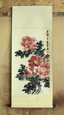 Vintage Estate Hand Painted Chinese Scroll w Pink Peony Flowers by Shi Sai Yu 2D