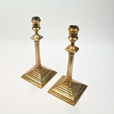 Pair Antique English Neoclassical George III Brass Candlesticks 18th Cent. - VR