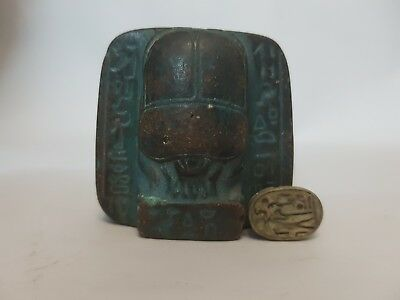 Rare Antique Unique Egyptian old Amulet Ancient Beetle Scarab Statue.