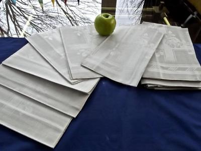 "15 Vintage Unused Gray Irish Linen 22"" Banquet Napkins Art Deco Damask Roses"