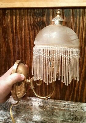 2 Vintage Frosted Glass Brass Wall Hanging Sconce Lamp Lights Beaded Shades