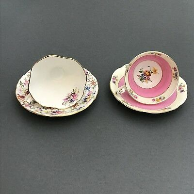 Lot of Two Vintage English Tea Cup and Saucer Sets, Bone China