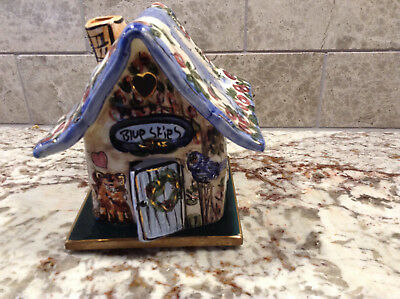 Blue Skies Ceramic Tea Candle House With Base