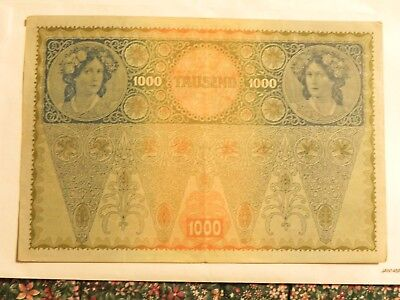 Old Austrian Currency, 1,000 Kronen - Circulated - Post WWI - JCcug