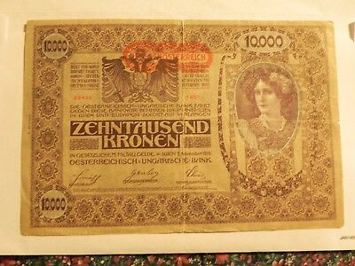 Large Size Austrian Banknote - 10,000 Kronen - 1919 - Circulated - JCcug