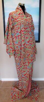 VTG Japanese Silk Kimono Full Length Orange Floral Sz M/L