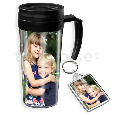 Personalised Custom Photo Gift Thermal Mug Coffee Tea Travel Flask Cup & Keyring