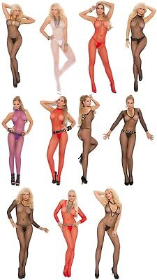 Crotchless FISHNET Bodystocking LONG SLEEVE STRAPS HALTER CRISS CROSS O/S & PLUS