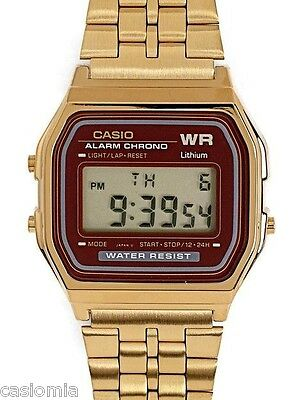 Casio A159WGEA-5 Mens Gold Tone Stainless Steel Digital Watch Vintage Retro NEW