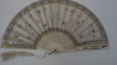 19th Century painted silk ladies fan, bone ribs, hand painted