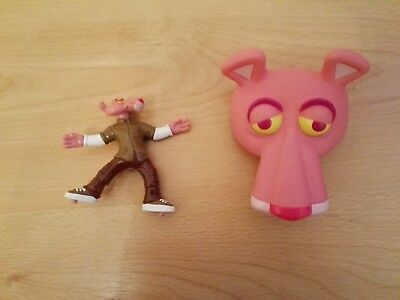 "Rare KFC Pink Panther Head Treasure Keeper 4"" & 3"" Standing Pink Panther Figure"