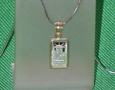 PURE  PLATINUM ~1~GRAM ~ STATUE  of  LIBERTY  BAR ~ 14~KT GOLD  PENDANT ~$108.88