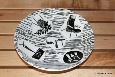 Vintage 1960's Black & White Ridgway Potteries Homemaker Porcelain Saucer Plate