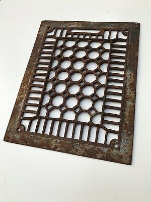 "Cast Iron Floor Wall heat Vent Grate Cover Register Antique Vintage 11"" x 14"""