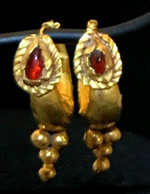Ancient Roman-Byzantine Gold And Garnet Pair Of Earrings! Super Nice Pair!