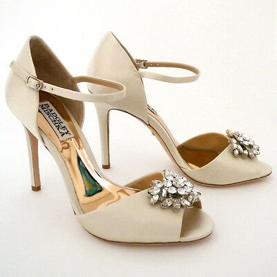"Badgley Mischka Bandera Ivory Wedding Shoes, 6.5M 3 3/4"" Ankle Strap, Peep Toe"