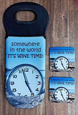 Somewhere In The World It's Wine Time,wine Cooler Carrier With Matching Coasters