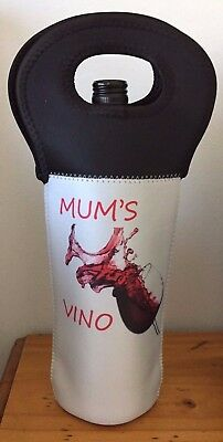 Luxury Wine Bottle Cooler Carrier Bag - MUM'S VINO - Xmas gift for mum