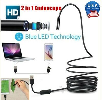 2 in 1 USB Endoscope Borescope 6 LED Waterproof Snake Camera for Mac OS Android