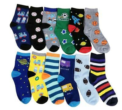 Differenttouch 12 Pairs lots  Kids Boys Novelty Design Crew Socks
