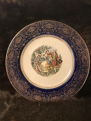 Imperial Salem China Co. Plate 23 karat Cobalt Blue