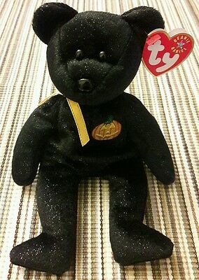 Mint Retired Ty Beanie Babies Haunt Black Halloween Bear 2001 Baby w/ Pumpkin