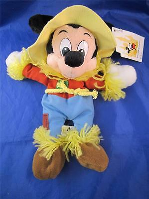 "Plush Bean Bag Disney Mickey Mouse In Scarecrow Halloween Costume 9"" NWT"
