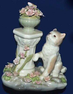 Adora Fine Porcelain Figurine by Cosmos - Cat with Pedestal and Flowers