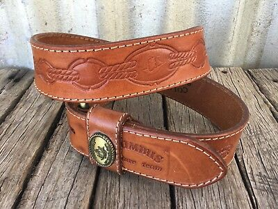 VINTAGE 90's Tan TOOLED LEATHER BELT Brass Buckle COLUMBUS Nautical Knots